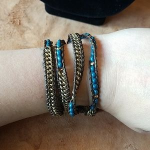 Leather wrapped beads and chain bracelet